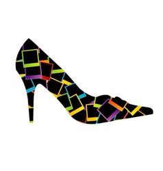 Shoe with polaroids vector