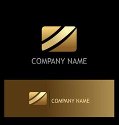 square stripe gold business logo vector image