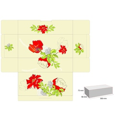stylized template for box with flowers vector image