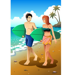 surfer couple on the beach vector image