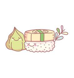 Sushi and wasabi menu restaurant food cute vector