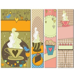 Sweet Dessert and Coffee Banners vector image