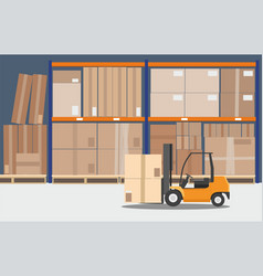 the forklift in the big warehouse delivery vector image