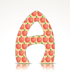 The letter A of the alphabet made of apple vector