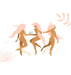 Three girls grace elegant young women with floral vector