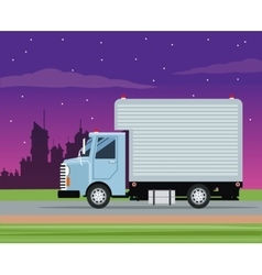 Truck cargo service transport night city vector