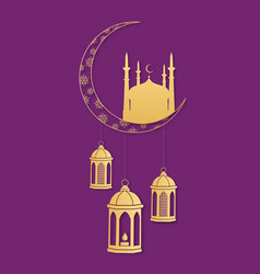Turkish lanterns hang from the moon silhouette of vector