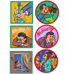 virus epidemic hygiene and health instruction vector image