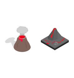 Volcano icon set isometric style vector