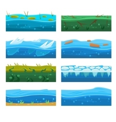 Water Platformer Level Floor Design Set vector