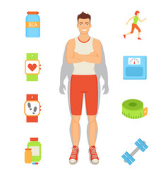 Weight loss person and icons vector