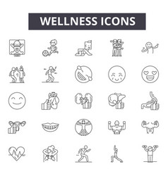 Wellness line icons signs set linear vector