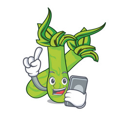 With phone wasabi character cartoon style vector