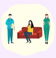 woman sits at home on sofa in a medical mask vector image