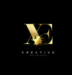 Xe x e letter logo with gold melted metal splash vector