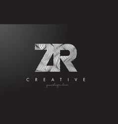 zr z r letter logo with zebra lines texture vector image