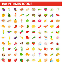 100 vitamin icons set isometric 3d style vector image vector image