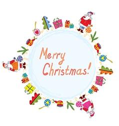 Christmas card with santa tree and presents vector image