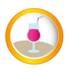 colorful circular frame with cocktail drink vector image vector image