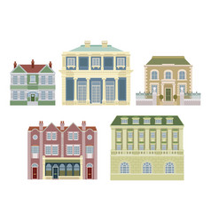 luxury old fashioned houses buildings vector image