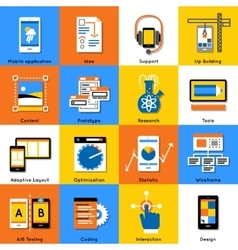 Mobile Application Flat Icon Set vector image