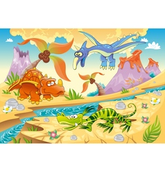 Monsters Dinosaurs with prehistoric background vector image