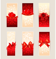 Set of beautiful gift cards with red gift bows and vector image vector image