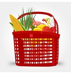 shopping basket full of food vector image vector image