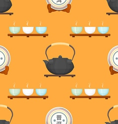 tea puer ceremony seamless pattern vector image vector image