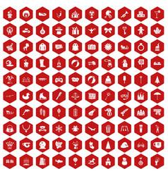 100 children icons hexagon red vector image vector image