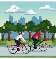 boys ride bike park city background vector image