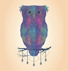 colorful hand drawn owl sitting on branch vector image