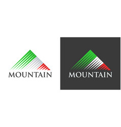 italian flag in logo of mountains vector image vector image