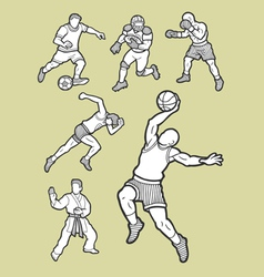 Male sport icons sketch vector image vector image