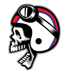 skull wearing old style of motorcycle helmet vector image vector image