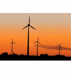 wind generators in sunrise vector image
