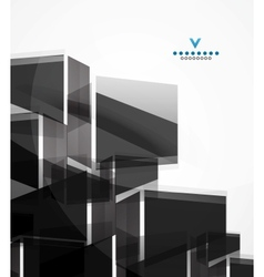 Black glass squares geometric background vector image