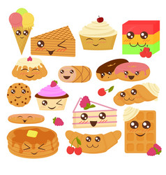 cute bakery goods in flat vector image vector image