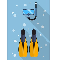 Diving mask with snorkel and swimming flippers vector image