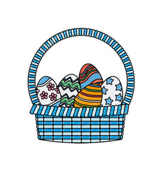 drawing happy easter basket egg decoration image vector image vector image