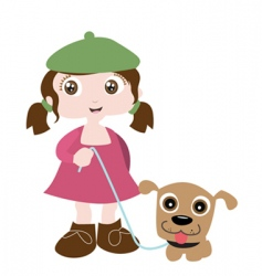 girl with dog friend vector image vector image
