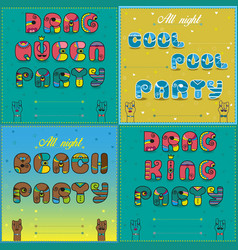 Invitations to party vintage artistic font vector