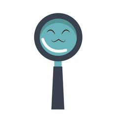kawaii magnifier search glass cartoon vector image vector image