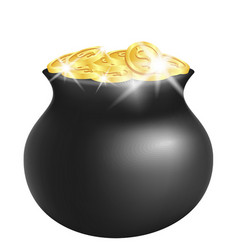 green pot with shiny gold vector image vector image