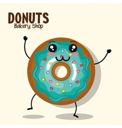 icon donut blue icing cream graphic vector image vector image