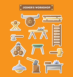 joinery workshop furniture icon set in flat style vector image