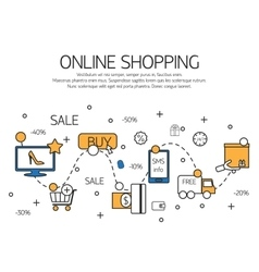 Online shopping outline concept of purchasing vector image vector image