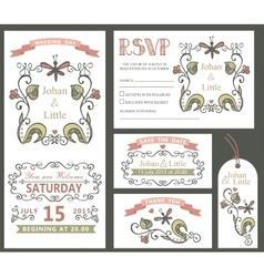 Vintage wedding design template setFloral decor vector image