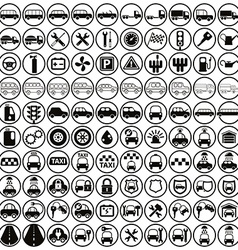100 car and transport icons vector image