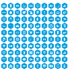 100 hand icons set blue vector